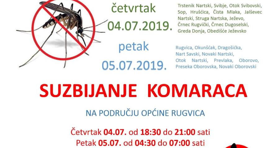 U četvrtak i petak suzbijanje komaraca na području Rugvice