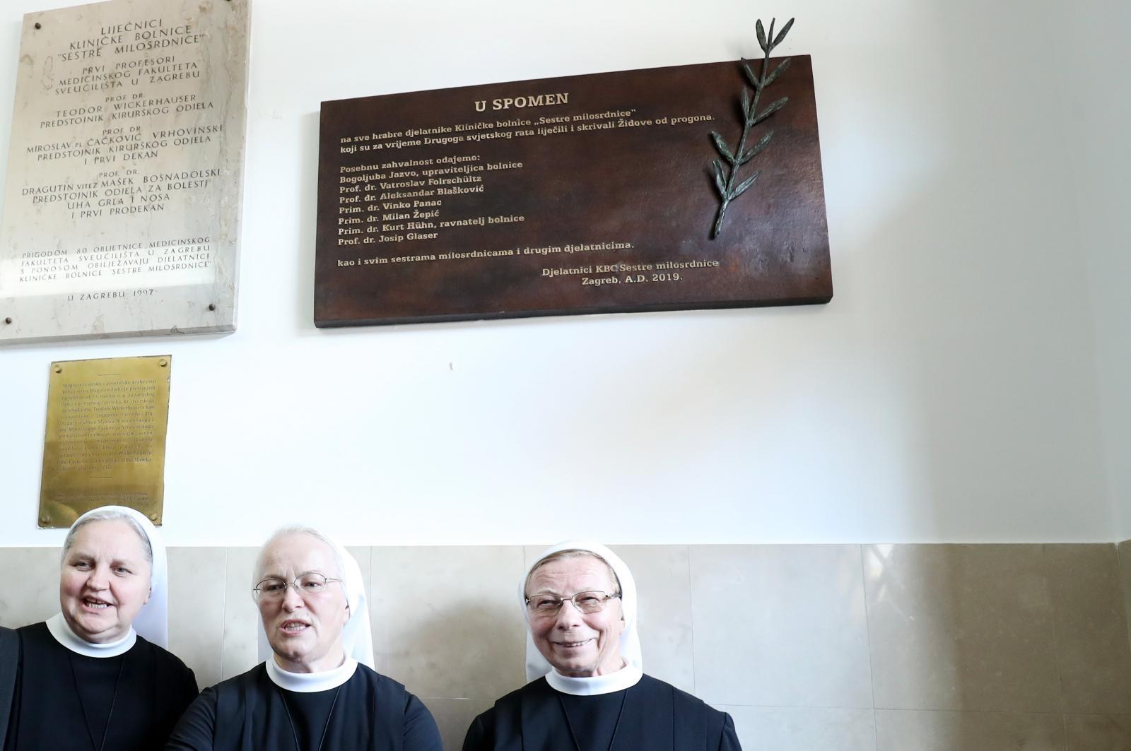 VIDEO: U KBC-u Sestre milosrdnice otkrivena spomen-ploča hrabrim liječnicima i časnim sestrama